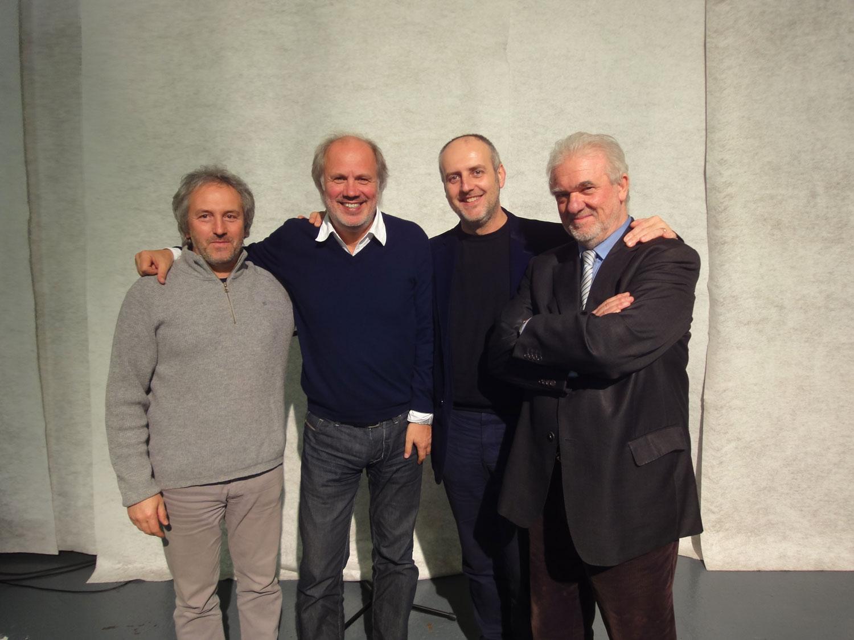 Con Mario Brunello di Antiruggine, Aldo Cibic e Lorenzo Zen